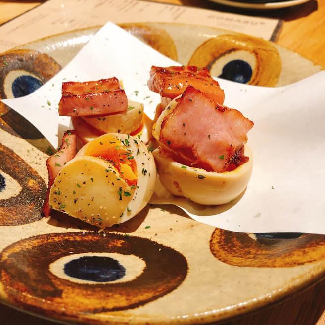 トロ玉卵とカマンベールの燻製 500円